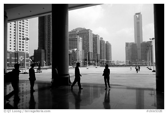 Hall of the modern East station linking to Hong-Kong. Guangzhou, Guangdong, China (black and white)