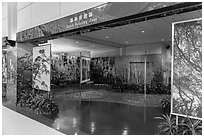 Green relaxing zone, Taiwan Taoyuan International Airport. Taiwan (black and white)