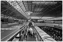 Inside terminal, Taiwan Taoyuan International Airport. Taiwan (black and white)