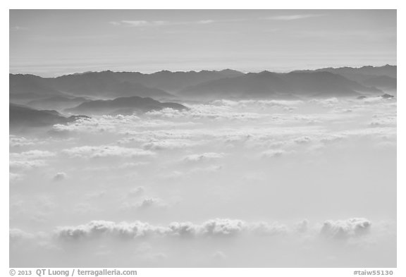 Aerial view of mountains above cloud layer. Taiwan (black and white)
