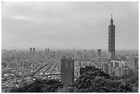 Taipei skyline with Taipei 101 tower. Taipei, Taiwan (black and white)