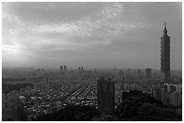 Taipei skyline from above at sunset. Taipei, Taiwan (black and white)