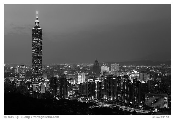 Black and white picture photo city skyline at dusk with taipei 101 tower taipei taiwan