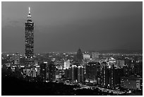 City skyline at dusk with Taipei 101 tower. Taipei, Taiwan (black and white)