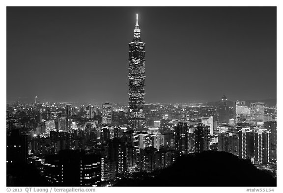 Black and white picture photo xinyi district and taipei 101 at night taipei taiwan