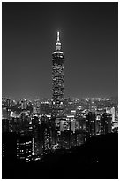 Taipei 101 tower from above at night. Taipei, Taiwan (black and white)