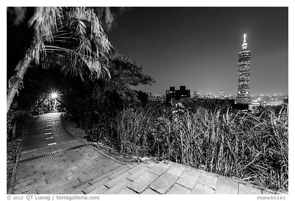 Black and white picture photo path on elephant mountain with taipei 101 in the distance at night taipei taiwan