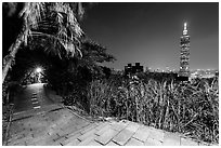 Path on Elephant Mountain with Taipei 101 in the distance at night. Taipei, Taiwan (black and white)