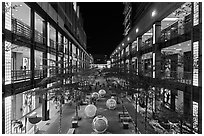 Shopping mall at night. Taipei, Taiwan (black and white)