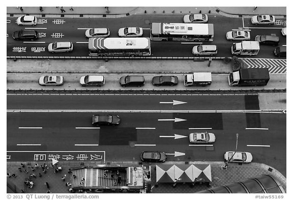 City traffic from above. Taipei, Taiwan (black and white)