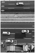 Taxis on street seen from above. Taipei, Taiwan ( black and white)