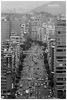 Old town center boulevard from above. Taipei, Taiwan (black and white)