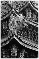 Roof detail, Guandu Temple. Taipei, Taiwan (black and white)