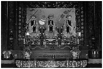 Main altar, Guandu Temple. Taipei, Taiwan (black and white)