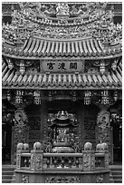 Facade, Guandu Temple. Taipei, Taiwan (black and white)