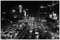 Traffic by night. Taipei, Taiwan ( black and white)