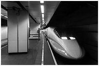 High Speed Rail (HSR) train, central station. Taipei, Taiwan ( black and white)