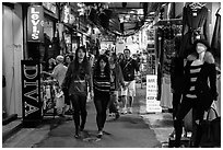 Women shopping in Shilin Night Market. Taipei, Taiwan ( black and white)