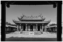 Dacheng Hall, Confuscius Temple. Taipei, Taiwan ( black and white)