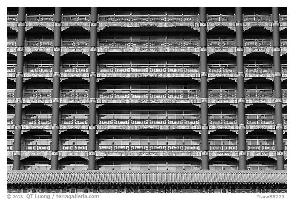 Facade detail, Grand Hotel. Taipei, Taiwan (black and white)