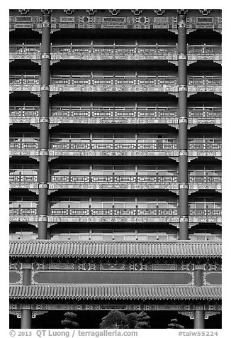 Vermilion columns and balconies, Grand Hotel. Taipei, Taiwan (black and white)