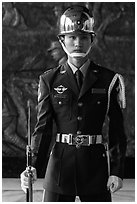Honor Guard, Martyrs Shrine. Taipei, Taiwan (black and white)