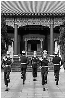 Changing of guards from Republic of China Military, Martyrs Shrine. Taipei, Taiwan (black and white)