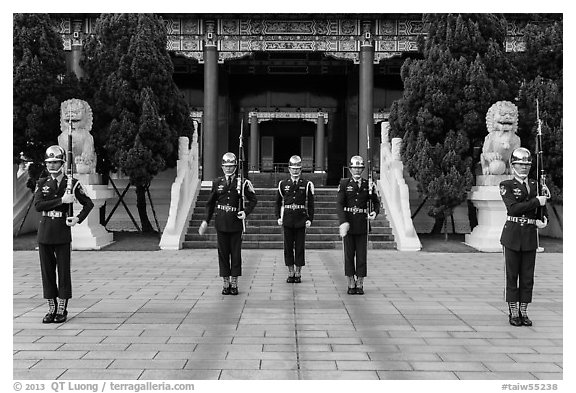 National Revolutionary Martyrs Shrine with honor guards in front. Taipei, Taiwan (black and white)