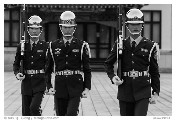 Republic of China Military guards,. Taipei, Taiwan (black and white)
