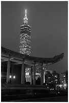 Sun Yat-sen Memorial Hall and Taipei 101 at dusk. Taipei, Taiwan ( black and white)