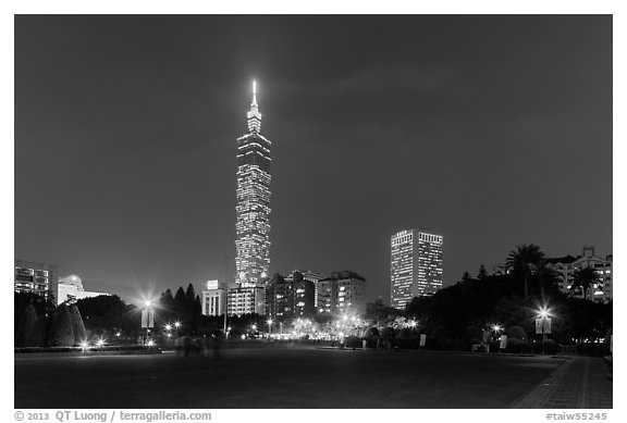 Taipei 101 at night from below. Taipei, Taiwan (black and white)