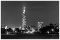 Taipei 101 at night from below. Taipei, Taiwan ( black and white)