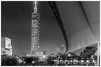 Taipei 101 at night from city hall at night. Taipei, Taiwan (black and white)