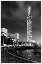 Taipei 101 at night from city hall plaza. Taipei, Taiwan (black and white)