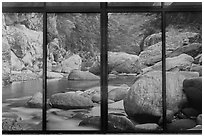 Doors decorated with landscape photographs, Visitor center. Taroko National Park, Taiwan (black and white)