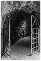 Door and tunnel, Changchun trail. Taroko National Park, Taiwan (black and white)