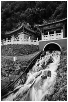 Stream and Eternal Spring Shrine, Taroko Gorge. Taroko National Park, Taiwan (black and white)