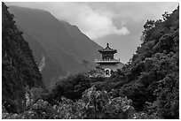 Lush mountains and Changuang Temple. Taroko National Park, Taiwan (black and white)