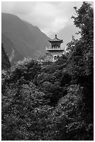 Changuang Temple nested in verdant cliffs. Taroko National Park, Taiwan (black and white)