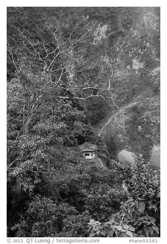 Trees, temple, and cliffs, Taroko Gorge. Taroko National Park, Taiwan (black and white)