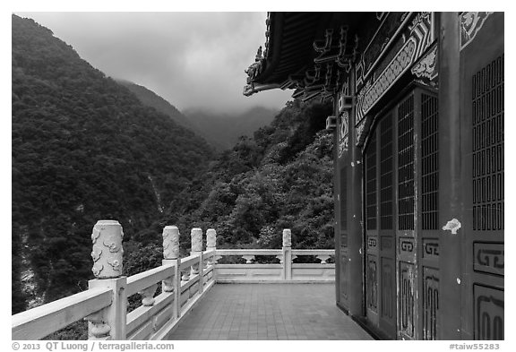 Red temple and green mountains. Taroko National Park, Taiwan (black and white)