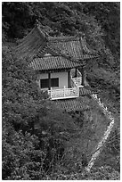 Temple with red tile roof seen from above, Taroko Gorge. Taroko National Park, Taiwan (black and white)