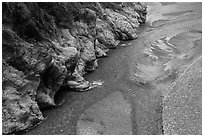 Braided stream, Taroko Gorge. Taroko National Park, Taiwan (black and white)