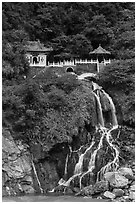 Changchun Shrine and waterfall. Taroko National Park, Taiwan (black and white)