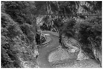 Gorge and suspension bridge, Taroko Gorge. Taroko National Park, Taiwan (black and white)