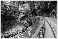 Road, Taroko Gorge. Taroko National Park, Taiwan (black and white)