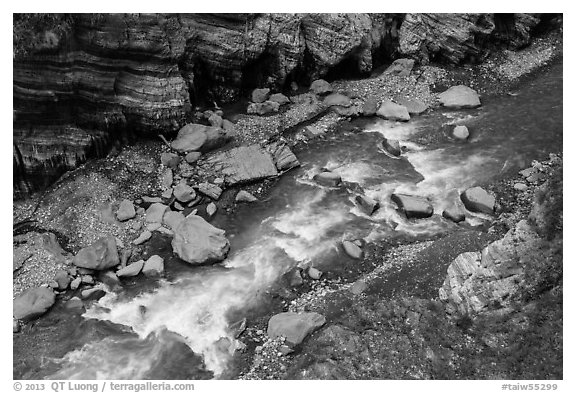 Liwu River rapids from above, Taroko Gorge. Taroko National Park, Taiwan (black and white)