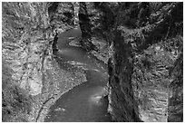 Liwu River meanders in narrow marble gorge. Taroko National Park, Taiwan (black and white)