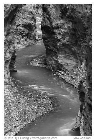 River in marble narrows, Taroko Gorge. Taroko National Park, Taiwan (black and white)