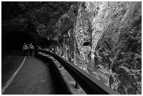 Road at Swallow Grotto, Taroko Gorge. Taroko National Park, Taiwan (black and white)